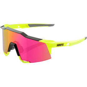 100% Speedcraft Mirror Glasses Tall Polished Black/Fluo Yellow